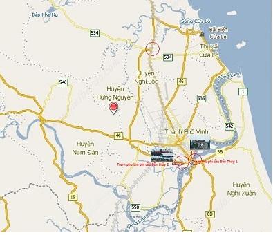Sơ đồ 2 trạm thu phí tại cầu Bến Thủy 1 và Bến Thủy 2 cách nhau chỉ khoảng 500 mét. (Sơ đồ bản quyền của Tạp chí Quê Hương Ngày Nay).