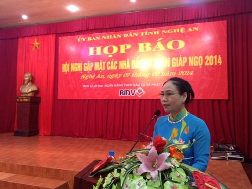 Bà Đinh Thị Lệ Thanh, Ủy viên BTV - Phó Chủ tịch UBND tỉnh Nghệ An phát biểu kết luận tại buổi Họp báo. Ảnh: NGÔ DOANH