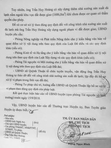 Báo cáo của UBND huyện Quỳnh Lưu gửi Thường trực Huyện ủy và Ban Tuyên giáo Huyện ủy Quỳnh Lưu liên quan đến vấn đề báo nêu ở cảng cá Lạch Quèn.