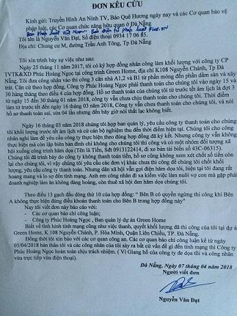 Đơn kêu cứu của anh Nguyễn Văn Đạt. Ảnh: PHÁP CHÍNH