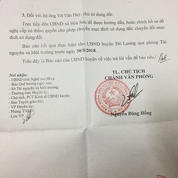Báo cáo của UBND huyện Đô Lương về việc giải quyết vấn đề báo chí nêu gửi đến Tạp chí Quê Hương Ngày Nay. Ảnh: QUỐC CƯỜNG