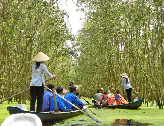 Những chiếc xuồng nhỏ sẽ đưa du khách tham quan rừng tràm